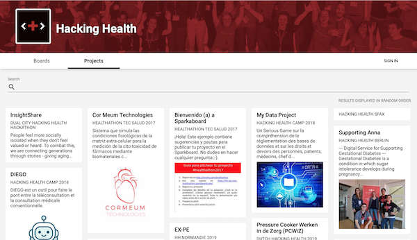Sparkboard hosts the Hacking Health boards and projects
