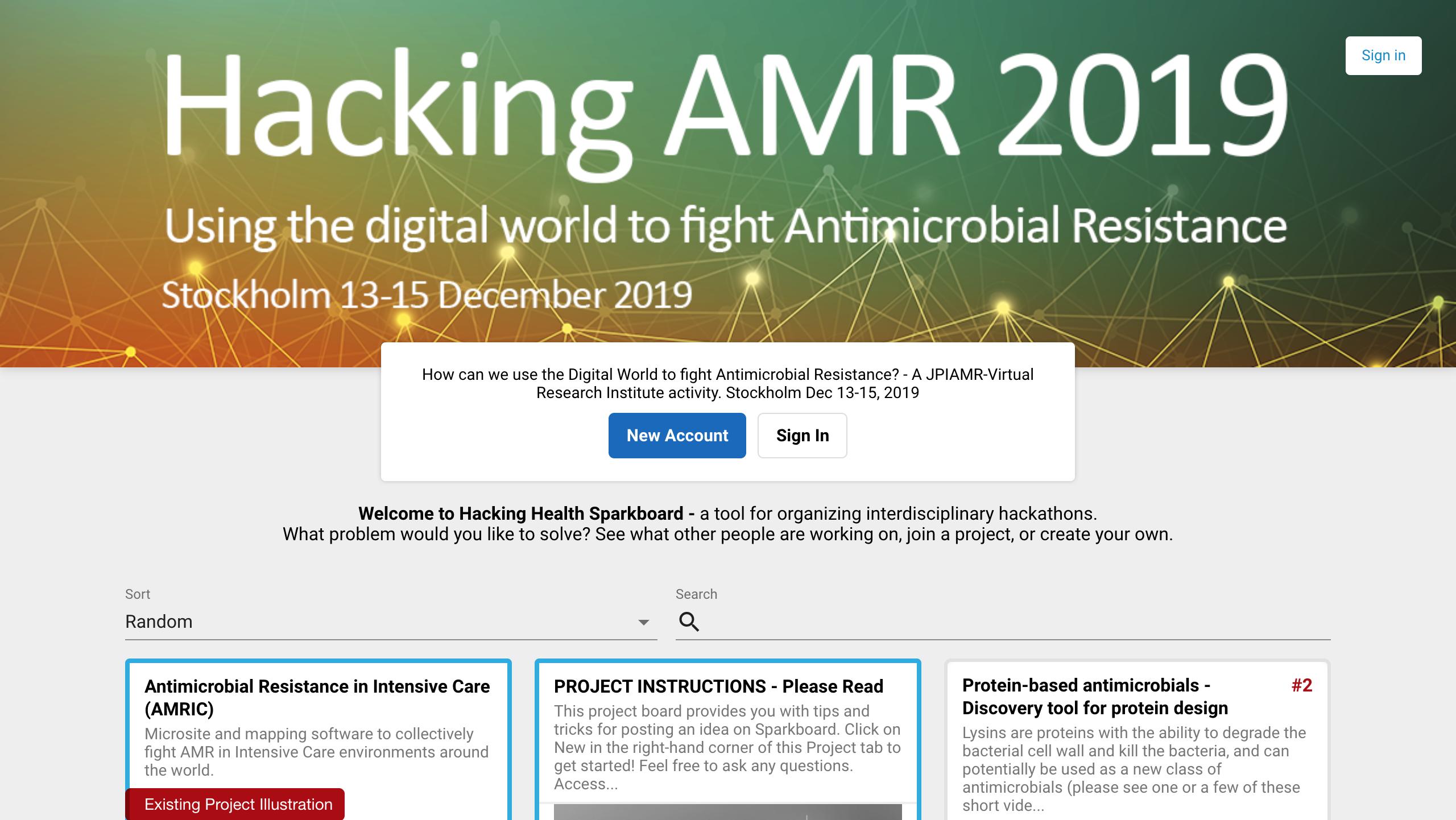 Hacking AMR 2019, Sparkboard